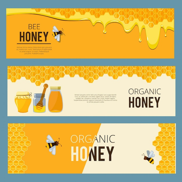 Horizontal banners with pictures set of apiary. Premium Vector