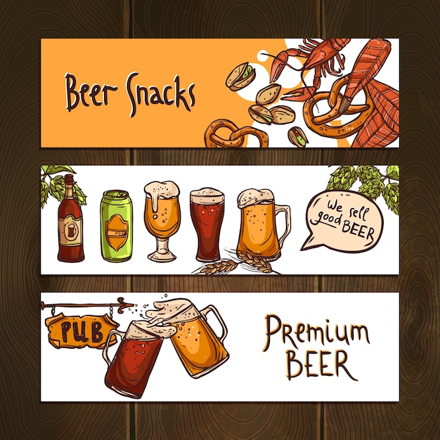 Horizontal beer banners Free Vector