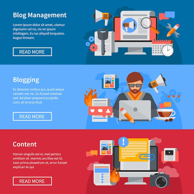 Horizontal blogging and blog management flat banners with blogger sharing content Free Vector
