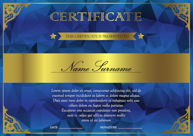 Horizontal blue and gold certificate and diploma template with vintage, floral, filigree for winner for achievement. blank of award coupon Premium Vector