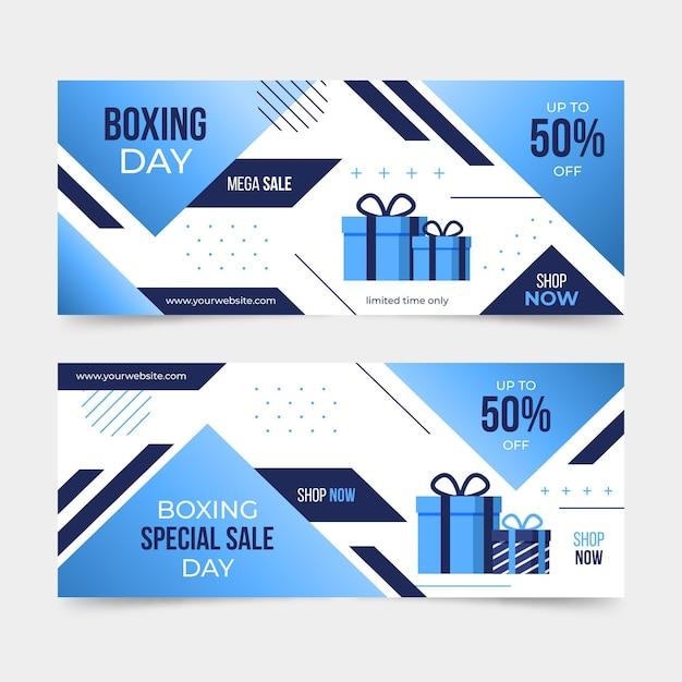 Raccolta di banner evento orizzontale boxe day Vettore gratuito