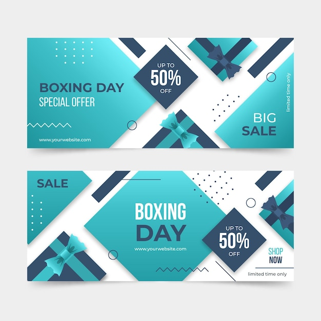 Horizontal boxing day event banners pack Free Vector