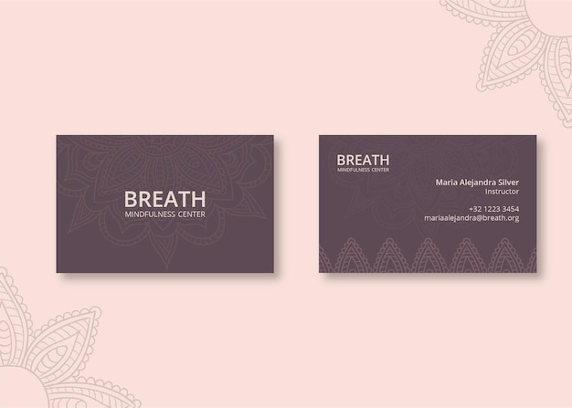 Horizontal business card for meditation and mindfulness Premium Vector