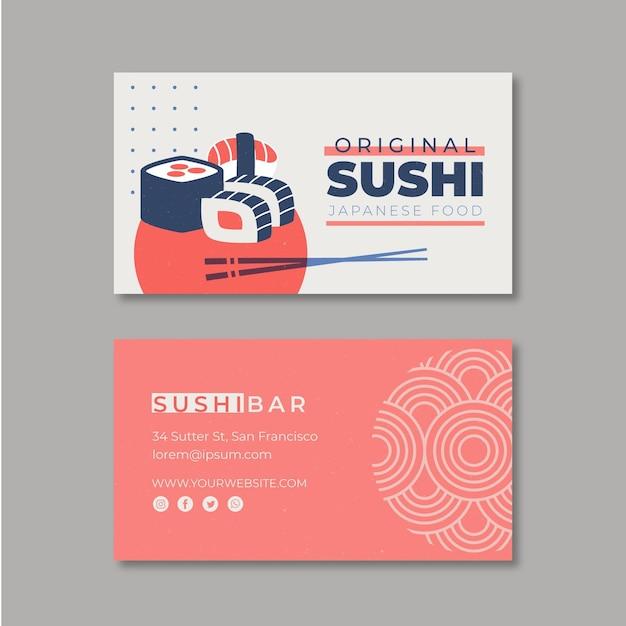 Шаблон горизонтальной визитки для суши-ресторана Бесплатные векторы