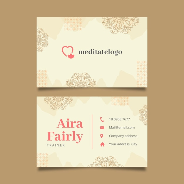 Horizontal business card template formeditation and mindfulness Free Vector
