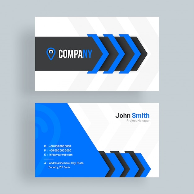 horizontal business card with front and back presentation premium vector