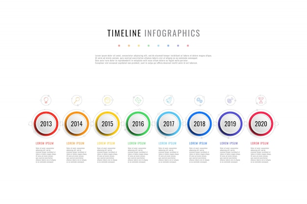 Horizontal business timeline with 8 round elements, year indication and text boxes Premium Vector