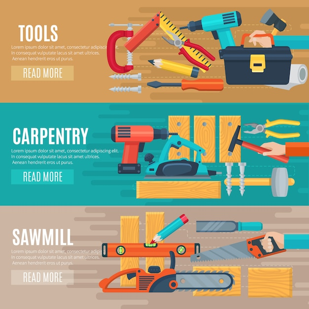 Horizontal carpentry flat banners set of woodworker tools kit and sawmill equipment Free Vector