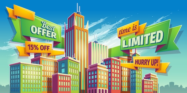 Horizontal cartoon illustration, banner, urban background with city landscape Free Vector