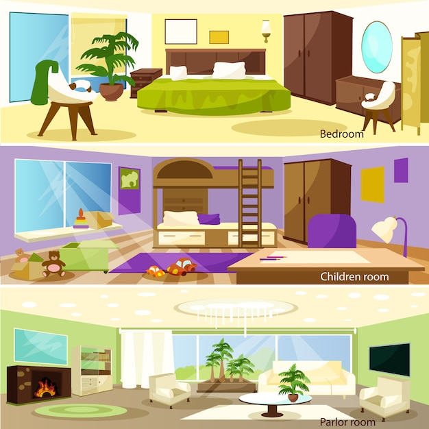 Horizontal cartoon living room interior banners Free Vector