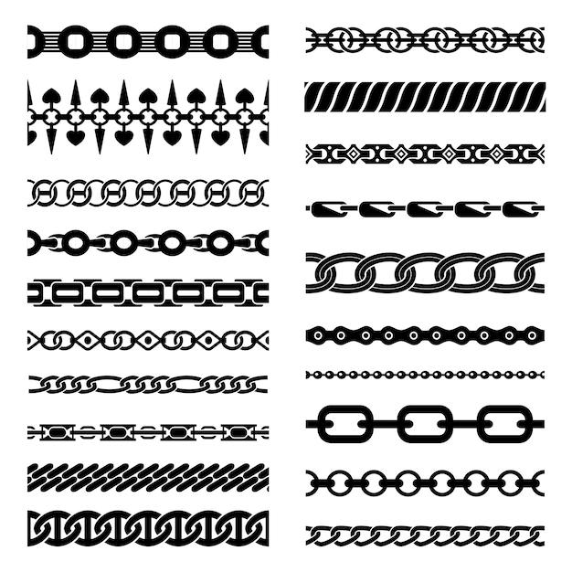 Horizontal chains collection Free Vector