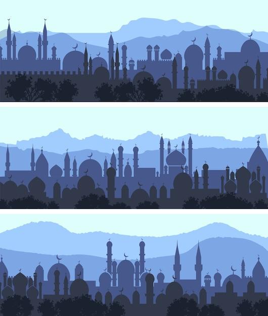 Горизонтальный городской пейзаж арабский город ночные баннеры Бесплатные векторы
