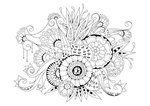 花とつぼみの水平のぬりえ。黒白イラスト Premiumベクター