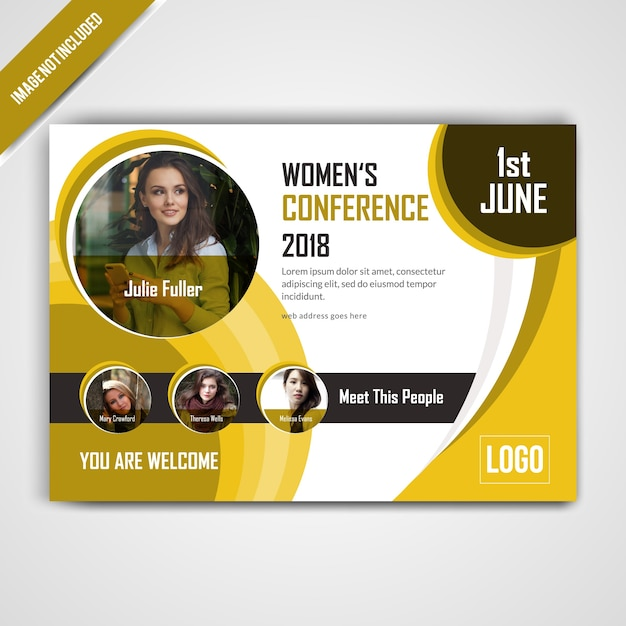 horizontal conference yellow flyer design vector premium download