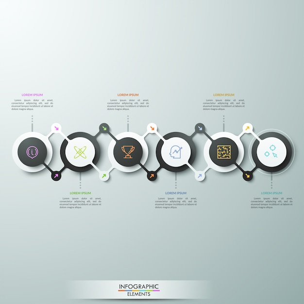 Горизонтальная схема, 6 кругов, соединенных зигзагообразными линиями со стрелками, пиктограммами и текстовыми полями. концепция стратегического развития бизнеса. Premium векторы