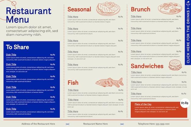 Шаблон горизонтального цифрового меню ресторана Premium векторы