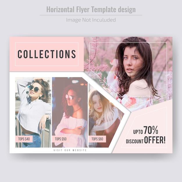 Horizontal fashion product sale flyer template Premium Vector