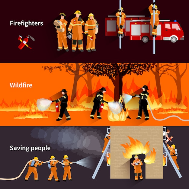 Horizontal firefighter people banners set Free Vector