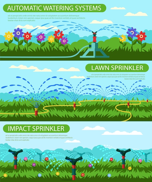 Horizontal flat banner automatic watering systems. Premium Vector