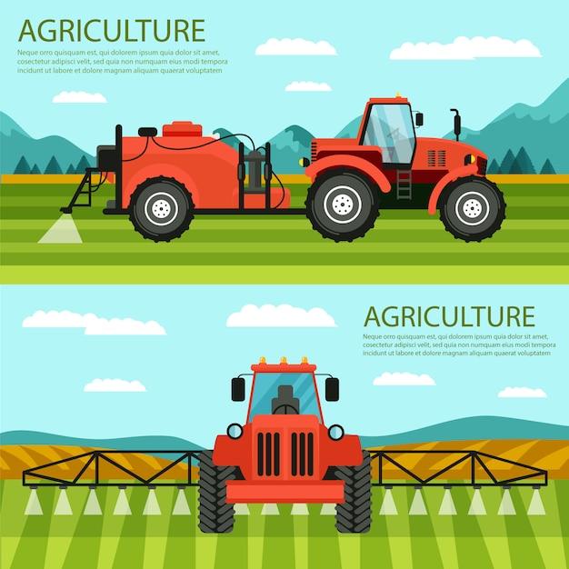 Horizontal flat banner set agriculture and farming Premium Vector