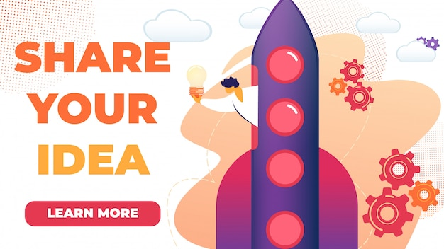 Horizontal flat banner written share your idea  Vector | Premium