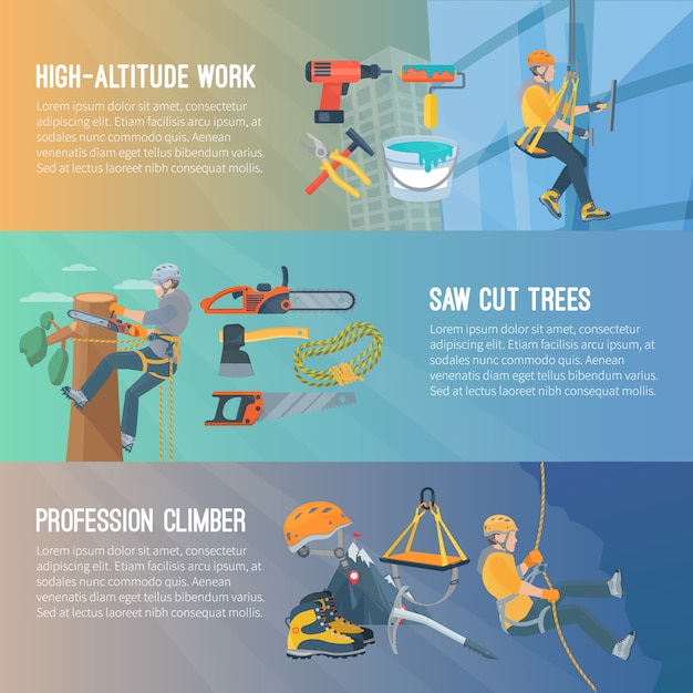 Horizontal flat color banner about high-altitude work saw cut trees profession climber vector illustration Free Vector