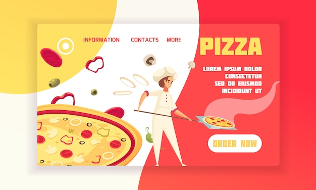 Horizontal flat pizza concept banner baker prepare pizza with order now button vector illustration Free Vector