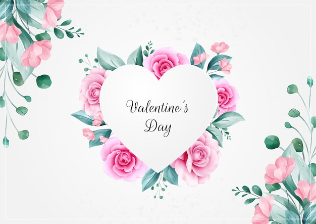 Horizontal flowers valentine's day background with heart floral frame Premium Vector