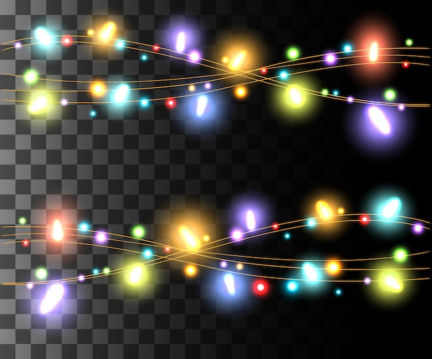 Horizontal glowing light colorful bulbs  for holidays garlands christmas decorations effect  on the transparent background website page game and mobile app design Premium Vector