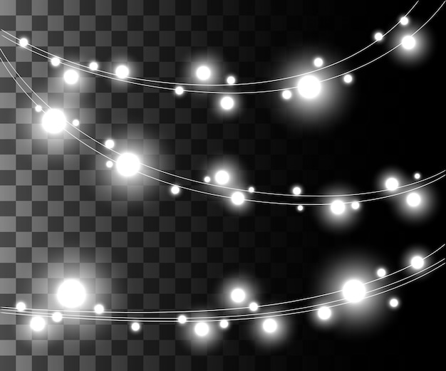 Horizontal glowing light silver bulbs  for holidays garlands christmas decorations effect  on the transparent background website page game and mobile app design Premium Vector