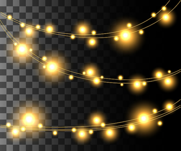 Horizontal glowing light yellow bulbs  for holidays garlands christmas decorations effect  on the transparent background website page game and mobile app design Premium Vector