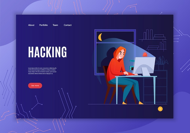 Horizontal hacker concept banner with hacking headline see more button and four link  illustration Free Vector