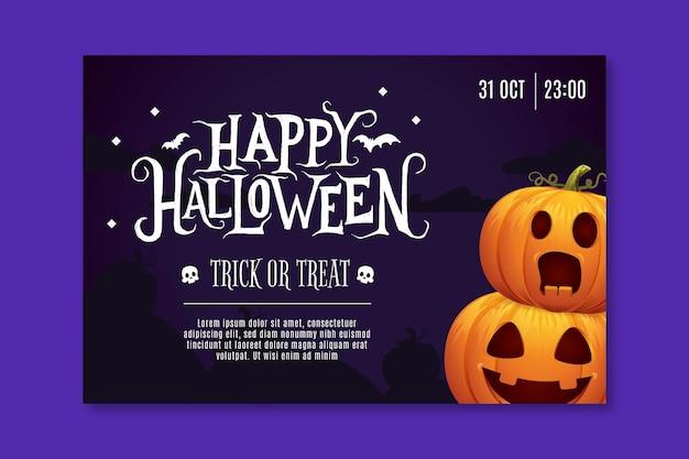 Horizontal halloween banner Free Vector