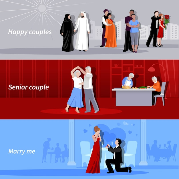 Horizontal happy couples people of different age and nationalities indoor and outdoor flat isolated backgrounds vector illustration Free Vector