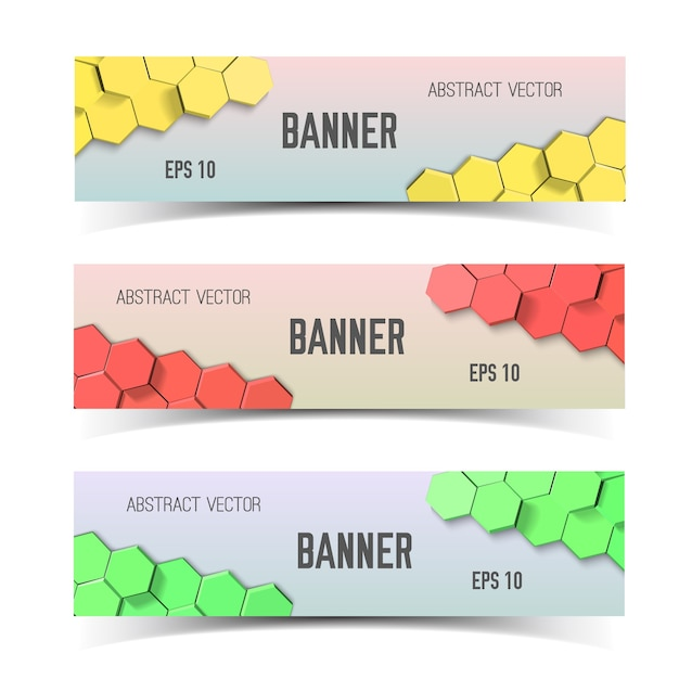 Horizontal honeycombs banner set Free Vector