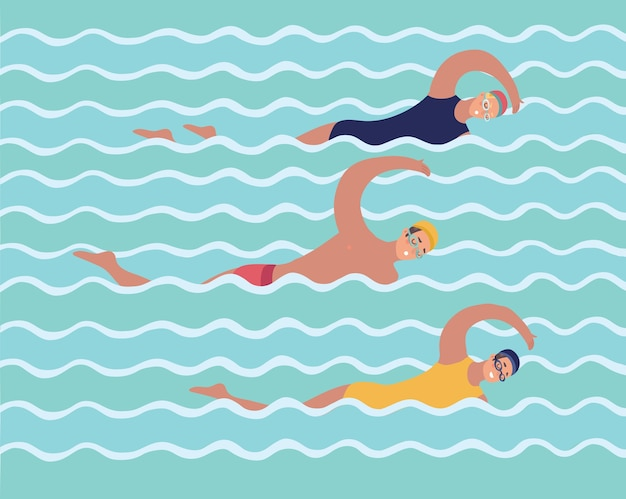 Horizontal illustration with swimmers in swimming pool. top view. various people and kids in water, swim in different ways. colorful background in flat style with place for text. Premium Vector