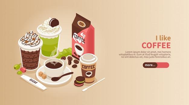 Горизонтальный изометрический баннер с чашкой и стаканами горячего кофе со взбитыми сливками печенье и долива 3d Бесплатные векторы