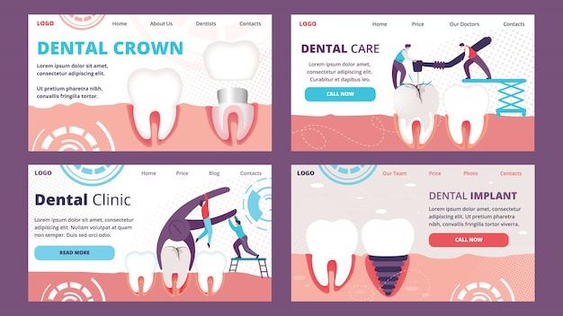 Horizontal landing page template set of teeth problems dentistry Premium Vector