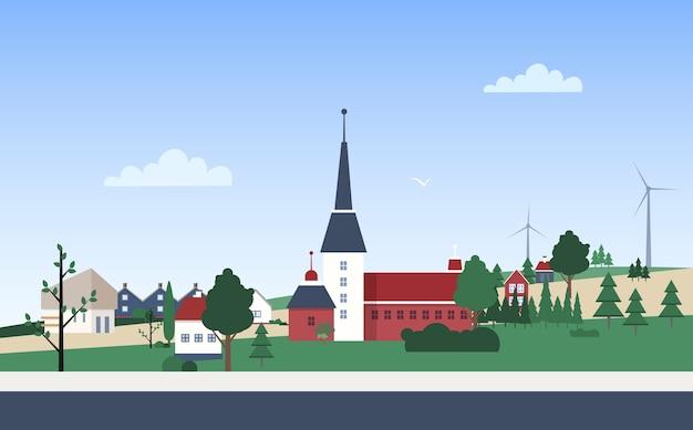 개인 주택 또는 주거용 건물이있는 마을 인근의 가로 풍경 프리미엄 벡터