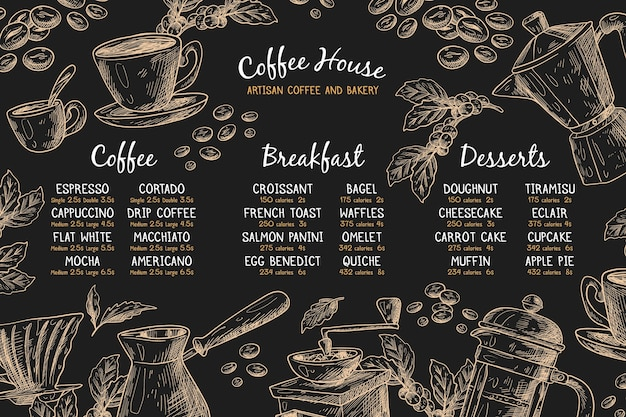Horizontal menu template with coffee Free Vector