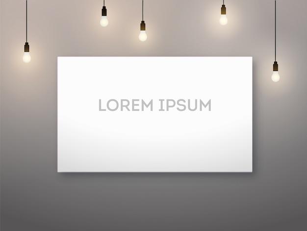 Horizontal picture frame and light bulb, lamp. warm lighting. Premium Vector