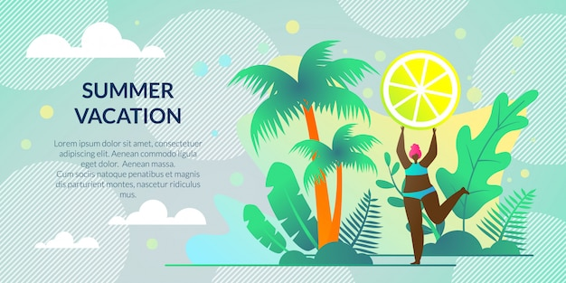 Horizontal poster summer vacation, lettering Premium Vector