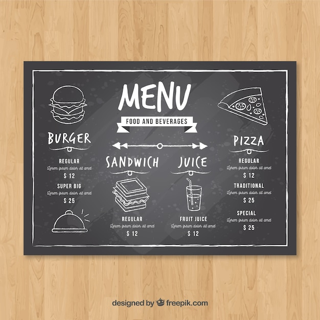 Horizontal restaurant menu template in blackboard style for Horizontal menu templates free download