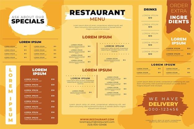 Modello di menu ristorante orizzontale Vettore gratuito