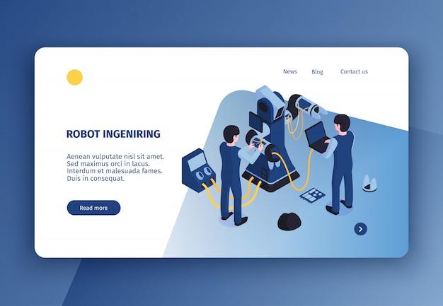 Горизонтальная концепция автоматизации робот целевая страница с изометрическим изображением робота-манипулятора под обслуживание с человеческими персонажами векторная иллюстрация Бесплатные векторы