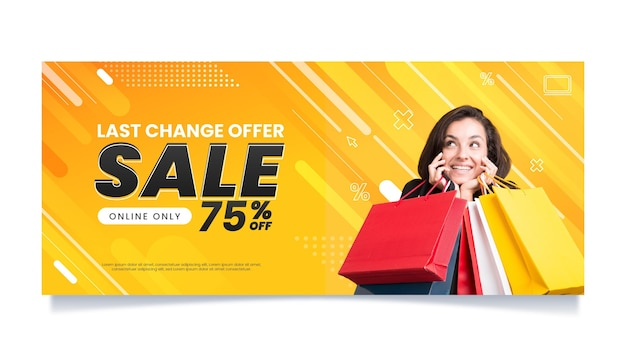 Horizontal sale banner template Free Vector