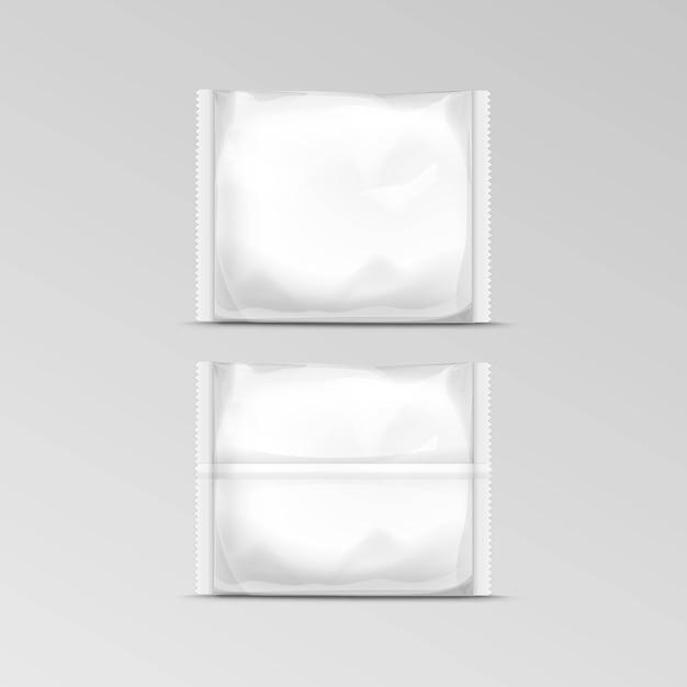 Горизонтальный герметичный пустой прозрачный пластиковый пакет для упаковки Premium векторы