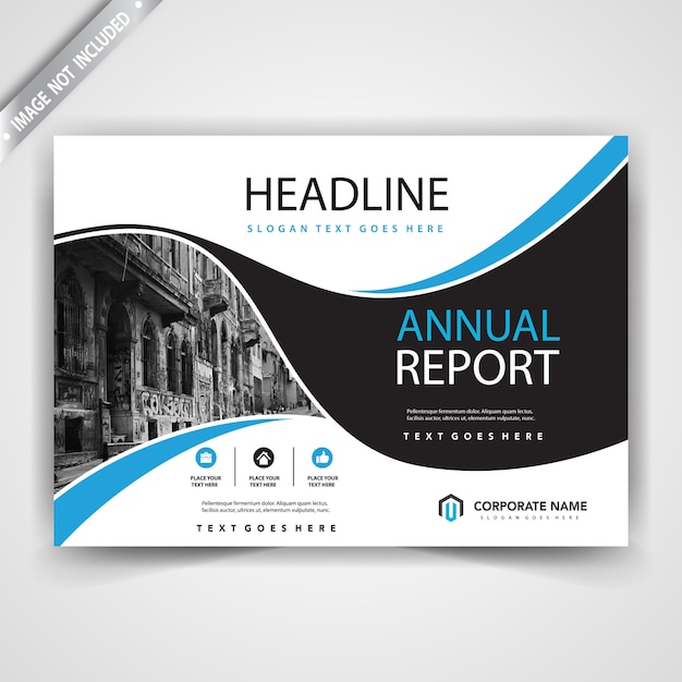 horizontal shape leaflet cover template Free Vector