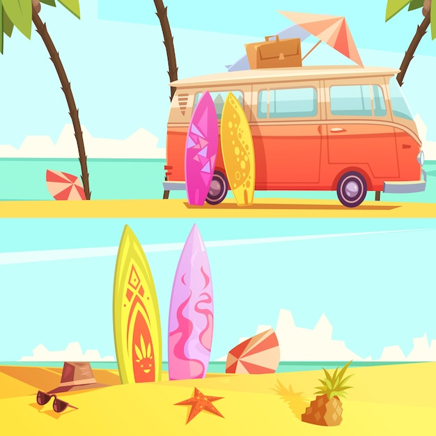 Horizontal surfing banners Free Vector