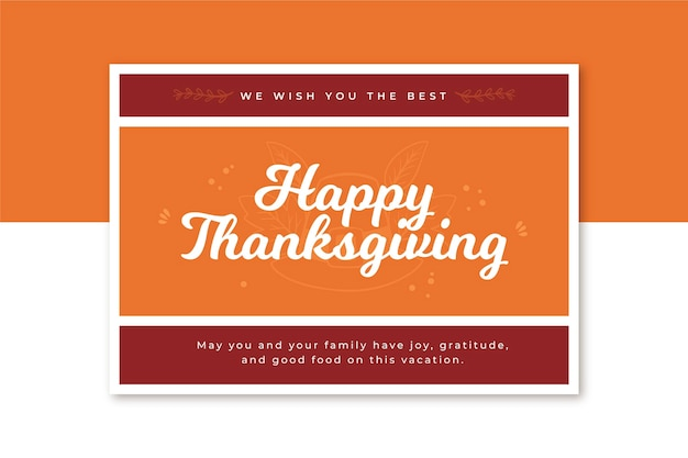 Horizontal thanksgiving card template Free Vector